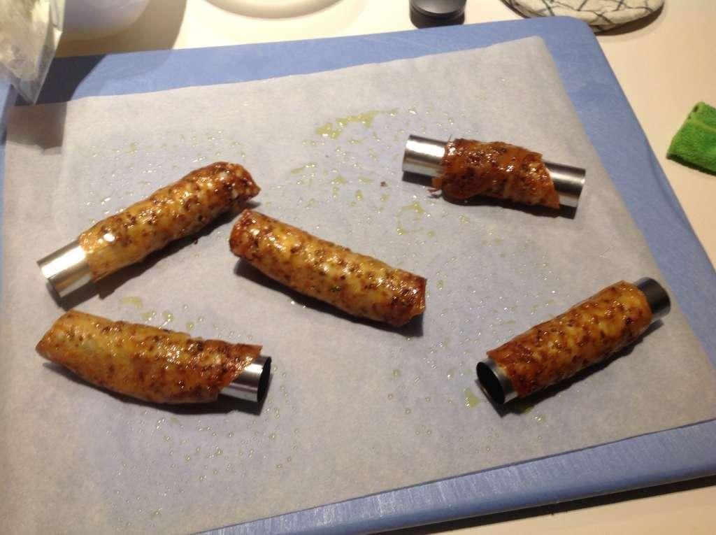 Cialda croccante al pistacchio con crema di ricotta