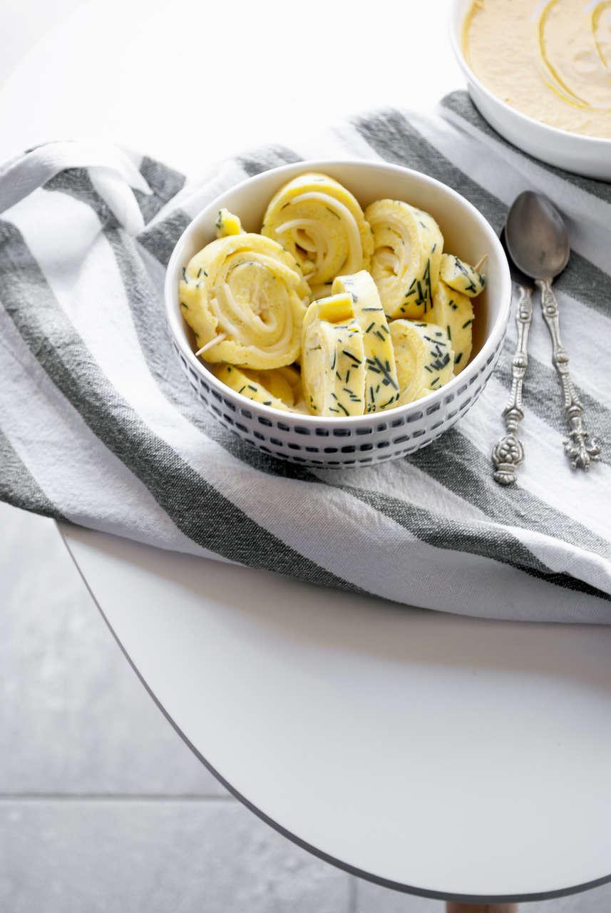 Omelette al vapore, formaggio e crema di zucca